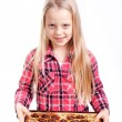 Little girl with candy box — Stock Photo #8325472