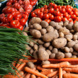Fruits and vegetables in a market - Stock Photo