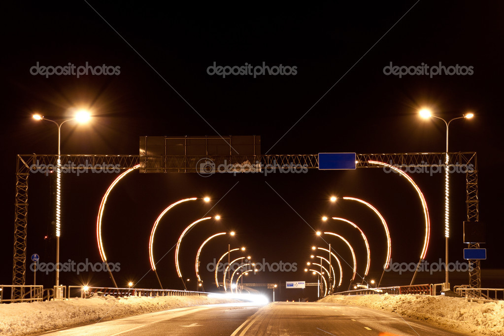 The bridge at night with lanterns and lights — Stock Photo #9231989