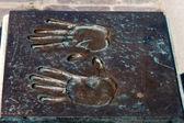 Metal handprint — Stock Photo