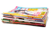 Stack of old colored magazines — Stock Photo