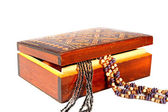 Old brown wooden jewelry box — Stock Photo