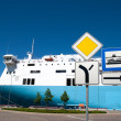 Sign entry to the ferry port — Stock Photo #9869822