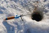 Winter fishing rod — Stock Photo