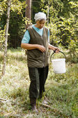 Una anciana caminando en el bosque — Foto de Stock