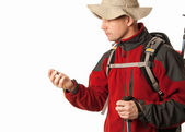 Hiker with trekking pole — Stock Photo