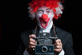 Instant camera clown — Stock Photo