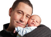 Newborn and father — Stock Photo