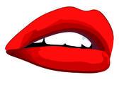Labbra rosse — Stock Vector