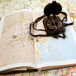 Maps with compass — Stock Photo