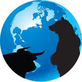 Bull, bear, planet earth — Stock Vector
