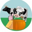 Picture cow with cheese — Stock Vector