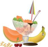 Fruit ice cream — Stock Vector