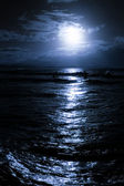 Moonrise over beach — Stock fotografie
