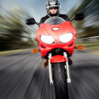 Speed Motorbike rider with motion — Stock Photo