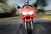 Speed Motorbike rider with motion — Stock Photo