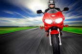 Speed Motorcycle moving very fast — Stock Photo