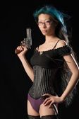 Gun toting gal — Stock Photo