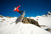 Snowboard wall ride — Stock Photo
