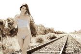 žena v prádle selektivně — Stock fotografie