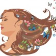 Stock Vector: Girl with flowers and butterflies in her hair