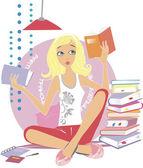 Girl reading a book — Stock Vector