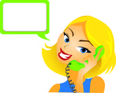 Girl talking a phone/ customer service/ woman answering questions — Stock Vector