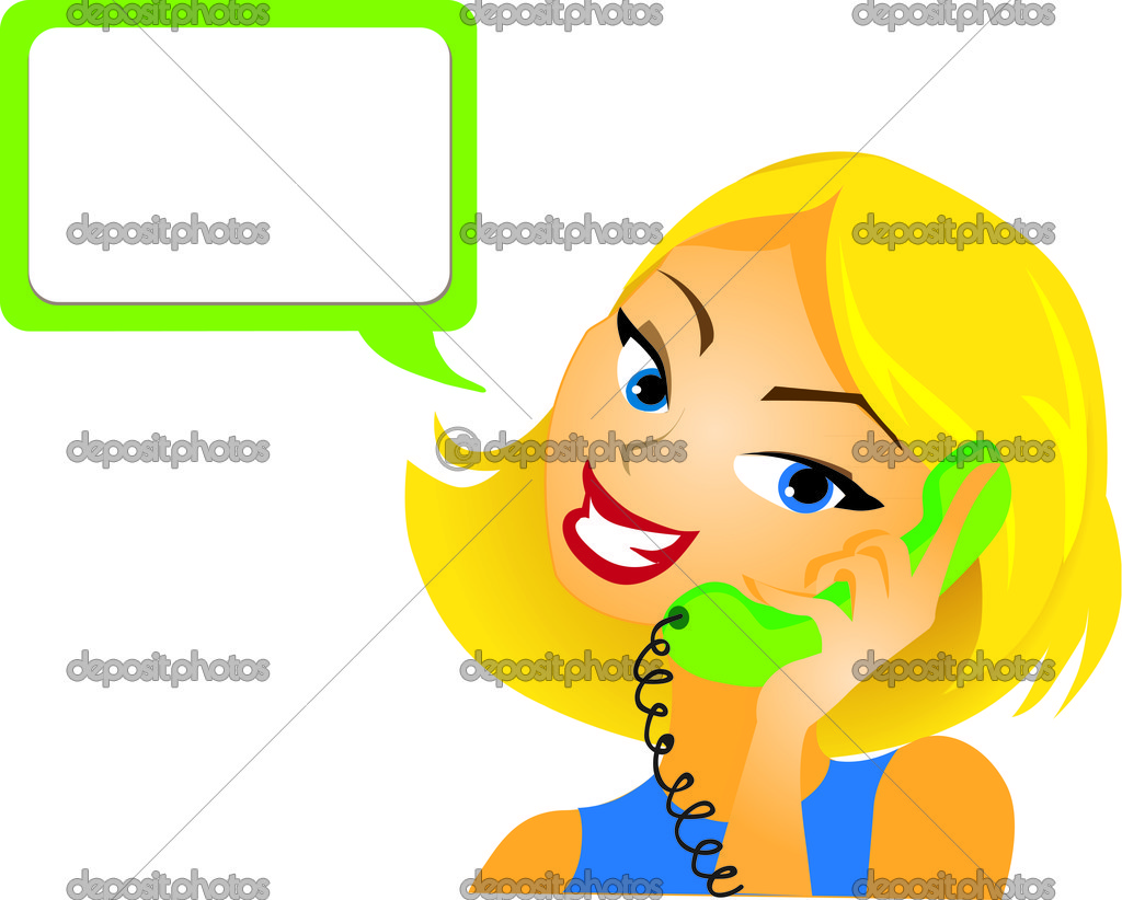 girl talking a phone customer service w answering questions girl talking a phone customer service w answering questions stock vector 8276233