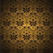 Seamless damask pattern. Flowers on a golden background. - Stock Vector