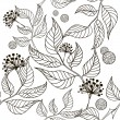 Black and white seamless pattern - flowers and leaves — Stock Vector #8839382