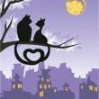 Stock Vector: Two loving cats on a tree above the night city skyline.
