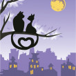 Two loving cats on a tree above the night city skyline. — Stock Vector #8839385