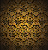 Seamless damask pattern. Flowers on a golden background. — Stock Vector