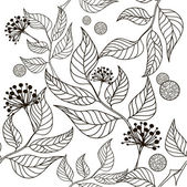 Black and white seamless pattern - flowers and leaves — Stock Vector