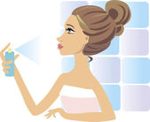Beautiful woman spraying perfume. — Stock Vector