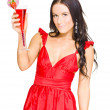 Sexy Brunette Woman With Strawberry Cocktail — Stock Photo