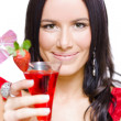 Woman With Cocktail Celebrating A Happy New Year — Stock Photo