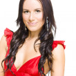 Young Sexy Woman With Brunette Hair In Red Dress - Stock Photo