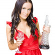 Winery Woman With Red Wine Glass And Decanter - Stock Photo
