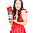 Woman Celebrating Success With Champagne Bottle — Stock Photo #10015922