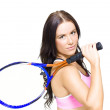 Sport Fitness WomHolding Tennis Racket — Stock Photo #10016003