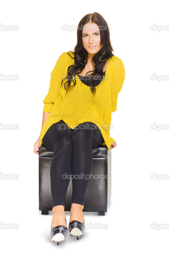 Full-Body Studio Portrait Of A Pensive Female College Student Taking Time To Sit Pause And Contemplate Possible Work Choices, Isolated On White Background — Stock Photo #10015855