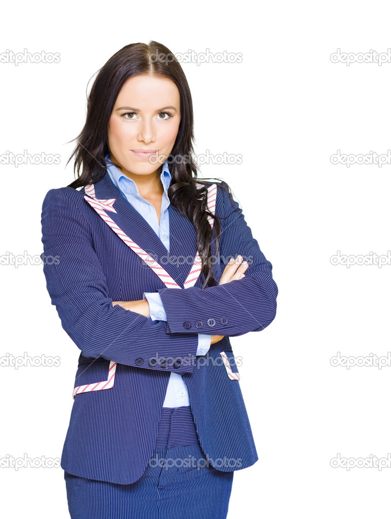Assertive Confident And Firm Female Business Person Standing Arms Crossed In A Half Body Isolated Studio Portrait On White Background — Stock Photo #10015934