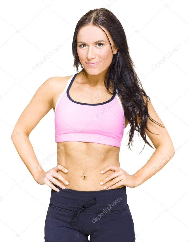 Half Body Portrait Of A Gym Fitness Instructor Standing Proud And Confidently With Hands On Hips In A Personal Fitness Training Health Lifestyle Concept, On White — Stock Photo #10015976