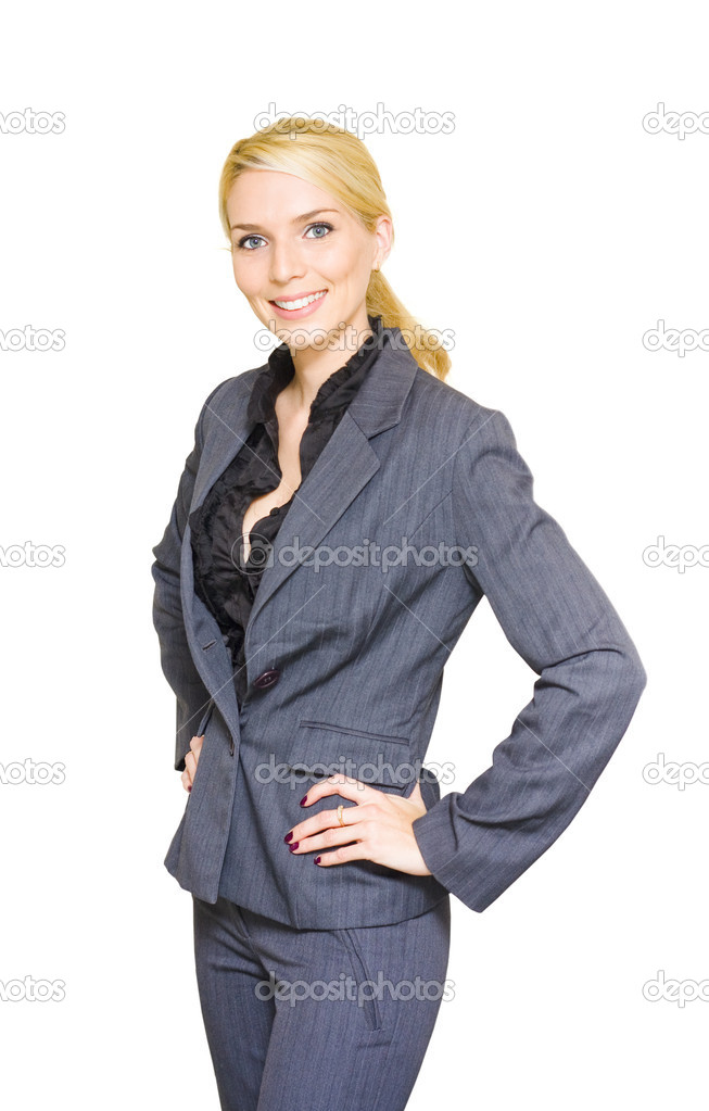 Studio Portrait Of A Happy Confident And Smiling Business Woman Standing With Hands To Hips Wearing Corporate Attire In A Successful Businesswoman Concept — Stock Photo #10019870