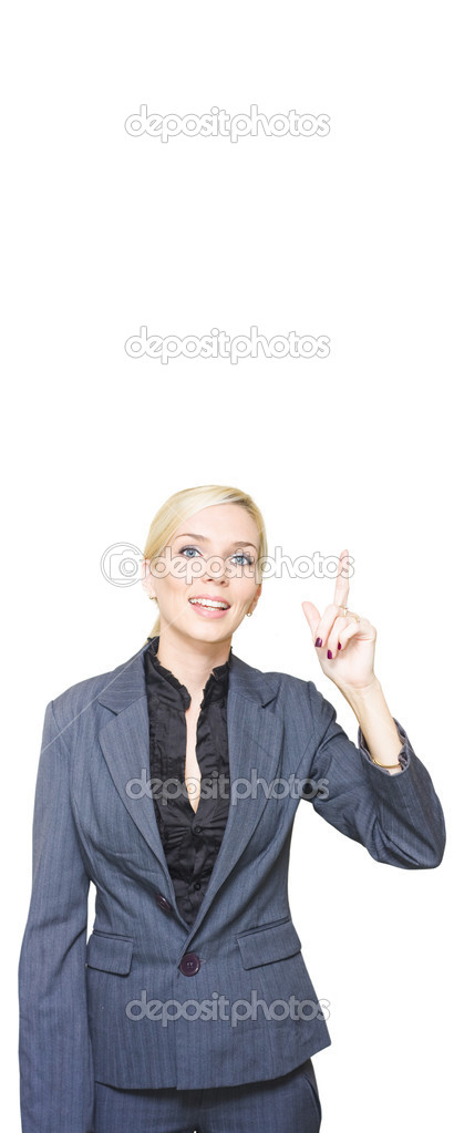 Marketing Professional Business Lady Pointing To The Sky While Promoting A Blank Copyspace Advertisement Display In A Isolated Studio Portrait On White — Stock Photo #10019890