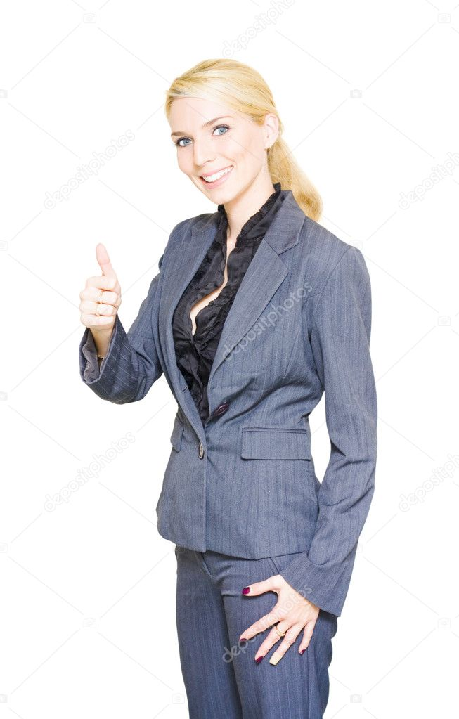 Happy Business Person With Smile Gives The Thumbs Up Display For Go While Wearing A Corporate Suit In A Positive Gesture Of Business Success — Stock Photo #10019893