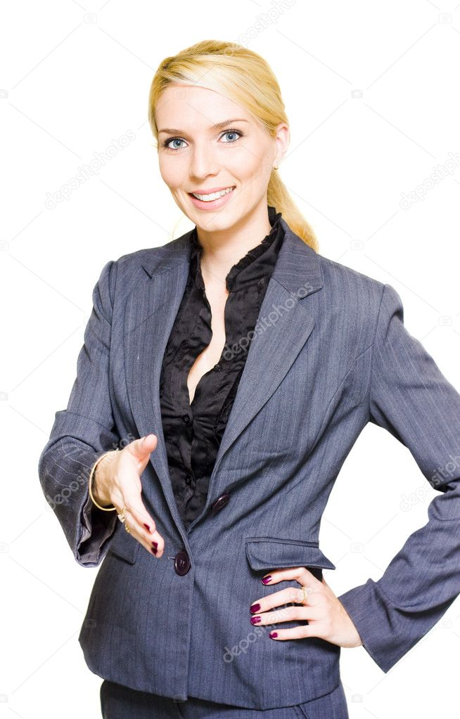 Corporate And Professional Young Business Woman In A Handshake Gesture Of Congratulations And Praise During A Business Meeting Isolated On White Background  Stock Photo #10019908