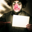 Circus Clown Holding Sign — Stock Photo