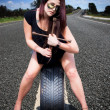 Tire Mechanic With Tyre — Foto Stock